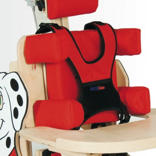 Individually adjustable chest and hip support for standing frame