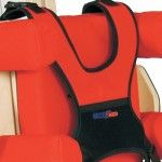 Individually adjustable chest and hip support for rehabilitation chair