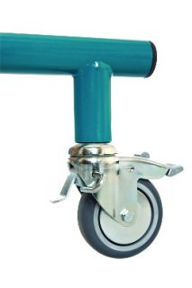Castors with blockade of reverse movement of standing frame