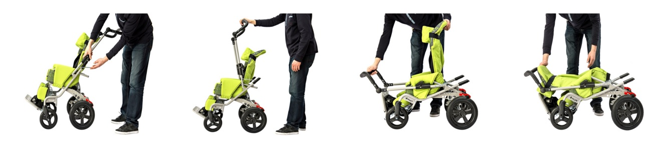 green special needs buggy and how it is folded