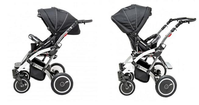 reversible seat of special four wheel buggy for disabled children