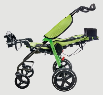 Adjustable tilt angle of seat and footer of ulises evo stroller for children with disabilities