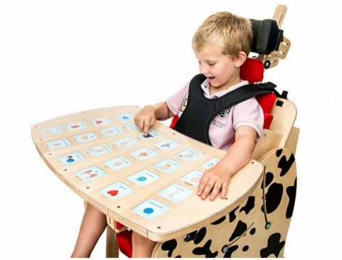 Tray for non-verbal communication for vertical stander and chair DALMATIAN